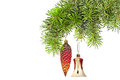 Christmas Red  Cones And Bell  On New Year Tree Stock Images - 28388504