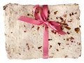 Hand Made Paper With Dried Petals And Bow, Isolated Stock Image - 28389991