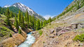 A Mountain Stream And An Old Bridge Foundation In Animas Forks, A Ghost Town In The San Juan Mountains Of Colorado Stock Photos - 28394443