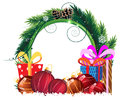 Christmas Wreath With Baubles And Gift Boxes Stock Photography - 28396542