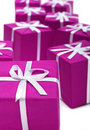 Gifts In Magenta Paper Isolate Royalty Free Stock Photo - 2843765