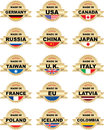 Labels MADE IN With Different Countries Royalty Free Stock Images - 28401469