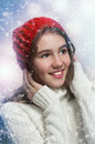Portrait Of Young Beautiful Girl In Winter Style Stock Images - 28401884