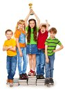 Classmates With Prize Stock Photography - 28403702