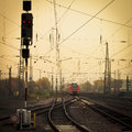 Mobile Photography Tone Red Train On Railway Track Stock Photos - 28410043