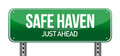 Safe Haven Green Road Sign Stock Photo - 28433280