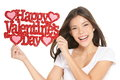Valentines Day - Woman Showing Sign Stock Image - 28437311
