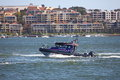 Police Boat On Patrol In Harbour Royalty Free Stock Image - 28455566