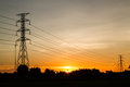 Sunset With Electric Transmission Tower Royalty Free Stock Photography - 28457887