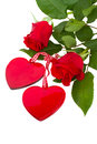 Two Glass Hearts With Roses Stock Photo - 28461540