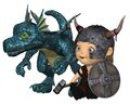 Toon Baby Viking And Pet Dragon Stock Photo - 28472860