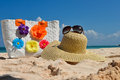 Summer Beach Bag With Straw Hat And Sunglasses Royalty Free Stock Images - 28474979