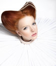 Beautiful Red Head Duchess In Jabot - Retro Style. Dramatic Theatrical Makeup. Masquerade Royalty Free Stock Photo - 28484365