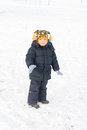 Adorable Little Boy Standing In Snow Stock Image - 28485081