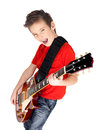 Portrait Of Young Boy With A Electric Guitar Royalty Free Stock Photography - 28485387