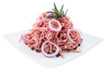 Plate With Minced Meat On White Royalty Free Stock Image - 28492656