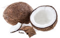 Cracked Coconut Isolated On White Stock Photos - 28492893