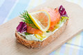 Sandwich With Smoked Salmon Stock Photography - 28493242