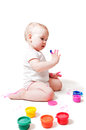 Year-old Girl With Paint Royalty Free Stock Photo - 28495605