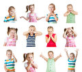 Collection Of Kids With Different Emotions Isolated On White Bac Royalty Free Stock Photography - 28498887