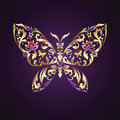 Ornate Butterfly Symbol With Floral Pattern Royalty Free Stock Image - 28504396