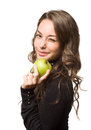 Fit Young Brunette With Green Apple. Royalty Free Stock Images - 28504409