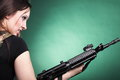 Army Woman With Gun - Beautiful Woman With Rifle Plastic Stock Images - 28507744