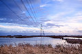 High-voltage Electric Line Over Swamp Stock Photos - 28509583