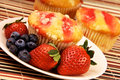 Healthy Strawberry Muffin Desert And Fruit Stock Photography - 28513672