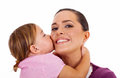 Daughter Kissing Mother Royalty Free Stock Image - 28522826