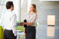 Businessman And Businesswoman Shaking Hands In Office Stock Photo - 28523740