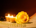 Valentine Concept. Rose And Two Heart  Candles Royalty Free Stock Images - 28546579