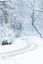Winter Park With Trees, Lampposts Stock Images - 28548244