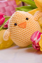 Chick And Tulip For Easter Holidays Stock Image - 28555871