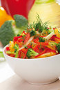Red, Yellow And Orange Sweet Pepper, Broccoli And Fennel Salad Royalty Free Stock Image - 28557846