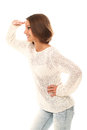 Attractive Woman Watching Gesture Over A White Stock Photo - 28558210
