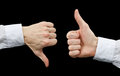 Two Hands Showing Gestures Thumb Up & Thumb Down Stock Image - 28559331