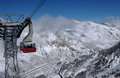 View To The Mountains And Red Ski Tram At Snowbird Ski Resoriew To The Mountains And Red Ski Tram At Snowbird Ski Resort In Utah Royalty Free Stock Photography - 28560507