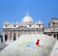 Travel Destination Rome Map Push Pin Blur Stock Images - 28571424