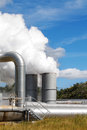 Geothermal Power Plant Pipes And Mist Royalty Free Stock Photography - 28580207
