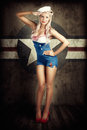 American Fashion Model In Military Pin-up Style Stock Photos - 28580733