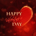 Happy Valentines Day In Red Heart Retro Card Stock Images - 28588474