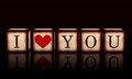 I Love You With Red Heart In 3d Wooden Cubes Stock Photos - 28588513