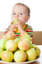 Baby Eating Apple Royalty Free Stock Image - 28595666