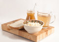 Healthy Meal . Bread,tea And Cereals Stock Image - 28595811