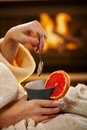 Winter Evening With Hot Tea Royalty Free Stock Images - 28598799