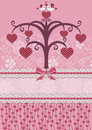Sweethearts Birds And Tree. Holiday Card. Stock Image - 28599771