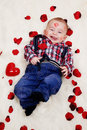 Laughing Baby Boy With Valentines Heart Royalty Free Stock Photos - 28600808