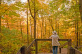 Enjoying The Colors Of Fall In The Forest Stock Photo - 28606010