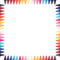 Multi Color Pastel(crayon) Pencils Border Isolated Royalty Free Stock Photography - 28616607